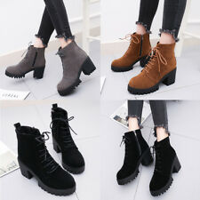 Women Ladies Fax Suede Side Zipper Boots Chunky Heel Platform Casual Ankel Boots