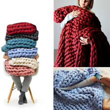 Soft Warm Hand Chunky Knitted Sofa Blanket Bed Throws Chenille Blanket 100*80cm