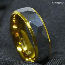 8Mm Silver Rhombus high polished Tungsten ring 18k Gold wedding band men jewelry
