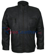Designer Mens Gray Slim fit Rider Motorbiker Genuine Leather Jacket