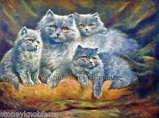 Silver Persians ~ Vintage Cats, Kittens ~ Counted Cross Stitch Pattern