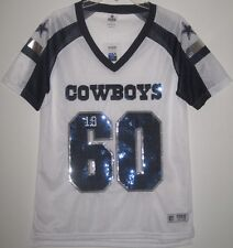 NWT VICTORIA'S SECRET PINK NFL S DALLAS COWBOYS BLING SEQUIN WHITE MESH JERSEY
