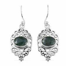 Artisan Crafted Emerald Sterling Silver Openwork Earrings
