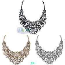 Vintage Retro Diamant Chain Water Droplets Style Hollow Out Short Bib Necklace