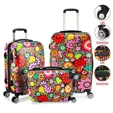 "20'' 24'' 28"" 4 Wheel Spinner Suitcase Travel Hard Luggage Flower Print TSA Lock"