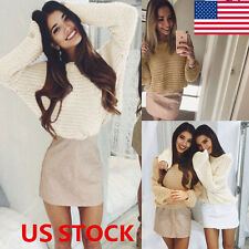US Women Long Sleeve Knitted Pullover Loose Sweater Jumper Outwear Tops Blouse