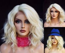 Womens Fashion Lace Front Wig Charm Short Platinum Blonde Wavy Full Hair Wig