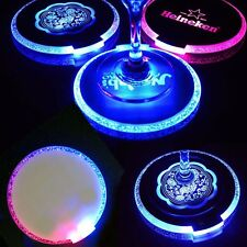 4 LED Coaster Color Changing Light Up Bottle Drink Cup Mat For Party Bar Club
