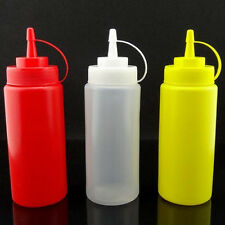 Ketchup Mustard Dispenser Squeeze Bottle Condiment Container W.Cap 8/12/16/24oz