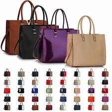 New Ladies Faux Patent Leather Womens Shoulder Bag Tote Cross Body Handbag Party