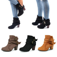 Women Block Heels Suede Boots Mid-Calf Ankle Buckle Shoes Chunky Zipper Shoes