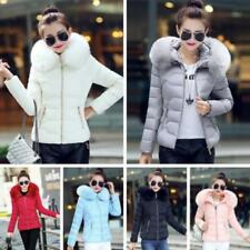 Womens Winter Down Cotton Parka Zip Slim Short Fur Collar Hooded Coat Jackets JJ