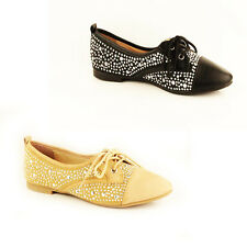 WOMENS LADIES COMFY LACE UP FLAT STUDDED LOAFERS MOCCASINS PUMPS SHOES SIZE 3-8