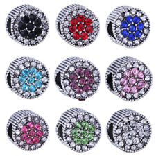 Silver Rhinestone Crystal Spacer Charms European Beads Fit Bracelets Chains