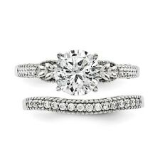 14K White Gold Diamond Engagement Ring & Wedding Band Set 1.32 carat Shoulders
