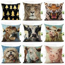 Tiger Dog Animal Oil Painting Cushion Cover Decorative Throw Pillow Case Frugal