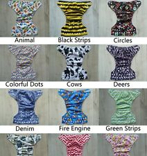 One Size Reusable Pocket Style Cloth Diaper Nappy+ 1Insert Suede 7-35 pounds Lot