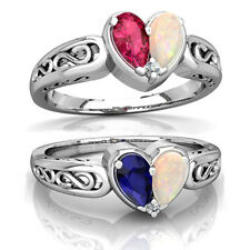 1.9CT Blue&Red Sapphire Opal Love Heart 925 Silver Ring Wedding Prom Size 6-10