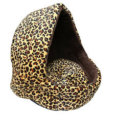 Soft Leopard Pet Dog Cat Bed House Kennel Doggy Puppy Warm Cushion Basket Pad