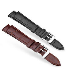Fashion 12mm-24mm Genuine Calf Skin Leather Watch Band Sliver Tan Clasp Strap