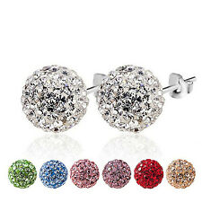 1 Pair CZ Crystal Disco Ball Stud Silver Plated Charm Earrings 6mm 8mm 10mm WOW