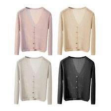 Summer Women V Neck Cardigan Outerwear Solid Color Button Sunscreen Clothing EW