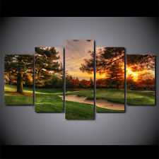 Framed Golf Course Sunset 5 Pcs Painting Printed Canvas Wall Art Home Decorative