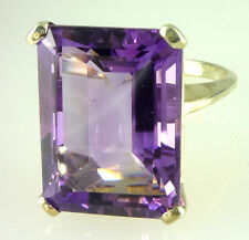 Natural Amethyst Ring Large 18X13MM Emerald-Cut Fine Color .925 Sterling Silver