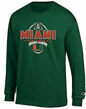 Miami Hurricanes Green Football Long Sleeve Tee Shirt by Champion