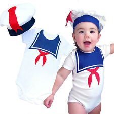 Newborn Baby Boy Girl Sailor Romper + Hat Navy Suit Outfit Summer Marine Costume