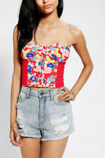 NWT Urban Outfitters Kimchi Blue RED FLORAL Dockside BUSTIER Button BANDEAU TOP