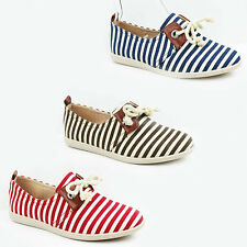 WOMENS LADIES CASUAL STRIPED FLAT LACE UP CANVAS PUMPS MOCCASINS SHOES SIZE 3-8