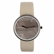 Soft PU Leather Strap Women Watch with Striped Dial and Alloy Black Silver Case