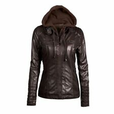 Women's Fashion PU Leather Bomber Biker Coat Jacket Hoodie Winter Warm Outwear