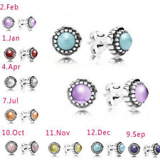 925 Silver Stud Earrings Birthstone Month Stone Natural Topaz Engagement Wedding