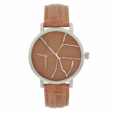 Round Shape Creative Pointers PU Leather Strap Watch with Crack Pattern Dial