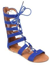 Women High Top Strappy Gladiator Sandals Flats Sandals Lace Up Shoes Tall Sandal