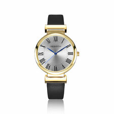 Gold Case Mens Watch Round Face Roman Numerals Dial Leather Strap Watch for Men