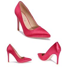 Womens Ladies High Stiletto Heel Pointed Satin Court Pink Party Wedding Shoes