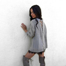 Women Sexy Long Sleeve  Loose Sweater Hollow Out Pullover  Knit Sweaters Tops
