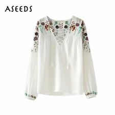 vintage floral embroidery blouse 2017 fashion white lace up long sleeve shirt wo