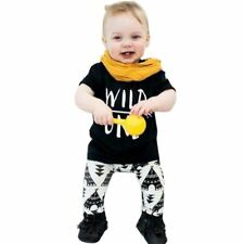 Baby Boy Clothes Set Letter Print T-Shirt Geometric Pattern Pants