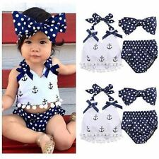 Baby Girl Clothes Set Baby Anchor Tops+Polka Dots Briefs Outfits Set