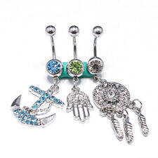 3pcs 14G Stainless Steel belly Button Rings for Women Navel Rings CZ Stones