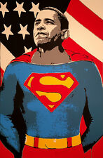 Brainwash + Banksy Obama Superman print canvas 8x12&12x17 street art graffiti
