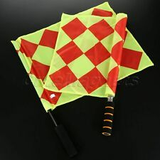 Red And Yellow Small Check Soccer Linesman Referee Flag Sponge Handle 2 Pcs