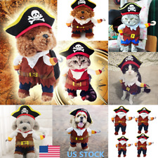 US Pet Dog Cat Costume Clothes Pirate Costumes Halloween Party Jacket+ Cape +Hat