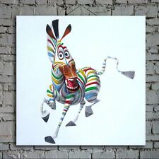 """Framed Hand-painted """"Madagascar Marty"""" Zebra Canvas Modern Abstract Oil Painting"""