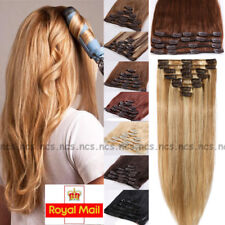 Clip in Human Hair Extensions DIY Weft 100% Real Remy Hair Blonde Full Head B780
