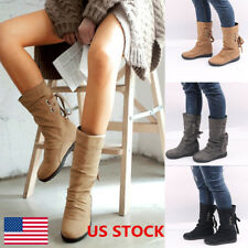 US Ladies Mid-Calf Boots Women Lace Up Low Heel Buckle Shoes Warm Winter Boots